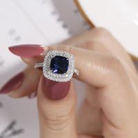 4様式の実質100%925スターリングシルバーリングフィンガージュエリー永遠の天然青サファイア結婚式の婚約リング