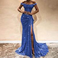 Gold königsblau Mermaid Abendkleid SpitzeAppliques sexy Schlitz Sequined weg von der Schulter Vintage Abendkleider lange Hülsen-formale Kleider 2020
