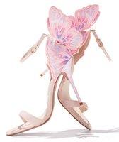 حار بيع أنثى الفراشة مجنح حزب النساء الكعوب العالية الصنادل أحذية الكعب رقيقة الزفاف مضخات أحذية المصارع الإناث مشاهدة Sandalias