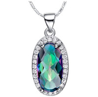 Luckyshine 925 Único mística Reina magnífico fino arco iris Mystic Topaz mujeres elegantes Zircon Collares Colgante 8 * 15mm