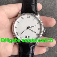 Роскошные часы Villeret Grande 6669-1127-55B Miyota 9015 Автоматический корпус из нержавеющей стали с сапфировым стеклом Белый циферблат Черные кожаные мужские часы