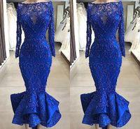 Imágenes reales Luxury Royal Blue Sirmaid Prom Vestidos de noche Bateau Cuello Perlas con cuentas corpiadas Adornos Ruffles Tobillo Longitud Corta Cocktail Barrio
