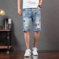 Nouveaux été Hommes Bleu Demin Shorts trous courts Jeans Bonne qualité Hommes droite Slim Fit Jean Shorts Longueur genou Casual Denim Jeans