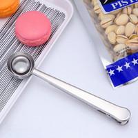 Универсальный Целебный Приготовление 1 чашка Инструмент из нержавеющей Молотый кофе Измерение совок Ложка с мешком запечатывания Клип Kitchen хороший помощник EEA1256-1