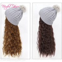 Knitted wool cap wigs Fashion hair Women Knit Hat Baseball C...