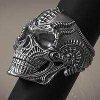 Rétro Gothique Punk Style En Acier Inoxydable 316L Alien Crâne Anneau Homme Vélo Locomotive Anneau Bijoux Taille 7-14