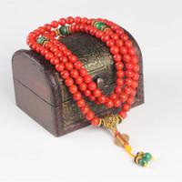 Sennier 108 rote Koralle Armband Naturstein Perlen mala Halskette buddhistisches Gebet Rosenkranz Strang Armbänder Buddha Meditation Y200107