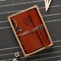 Notebook Vintage Diário de Bordo de papel Kraft Livros Jornal espiral pirata Blocos em branco Notebooks Escritório Escola Estudante Stationery VT1482