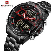 Top NAVIFORCE Uomo Sport Orologi da uomo al quarzo digitale LED Orologio da uomo Full Steel Army impermeabile da polso