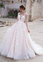 Naviblue 2020 블러쉬 핑크 웨딩 드레스 레이스 새해 긴 소매의 얇은 목 신부 가운 돌아 가기 컨트리 스타일 비치 웨딩 드레스 대상
