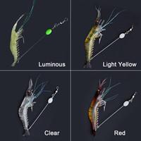 Hot 90mm 7 g weiche Simulation Garnelegarnele Fischen treiben Shaped-Köder-Haken-Köder-Bionic Artificial Garnele-Köder mit Haken 10pcs