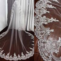 Cheap свадебные вуалы аппликационные края на заказ длинные свадебные вуаль однослойный тюль часовня длина головы платья горячие продажи