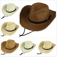 Chapeaux de cow-boy de tresse paille avec boucle occidentale américaine hommes chapeaux Lady Beach Hats Solid Kaki