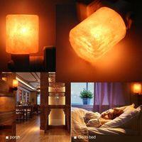 Nattlampor Vägglampor Utsökt Cylinder Naturlig Rock Salt LED Saltlampa Luftrenare LED Nattljus