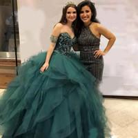 éclat vert chasseur chérie cristaux Dercation robe de bal Tulle robes ébouriffé Quinceanera Mode fête robe de retour