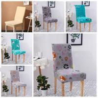 Cubierta minimalista Geometría floral silla del spandex elástico Silla de comedor cubiertas desmontables anti-sucio silla del banquete del partido del asiento Caso LXL202-A