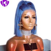 Mode Frauen-Perücken 14 Zoll Short Bob Perücke blaue Farbe synthetischer Spitze-Front-Perücke für Frauen mittleren Teil Hochtemperaturfaser-Haar Cosplay