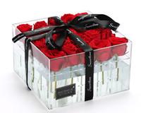 축제 기념품 선물 커버 플렉시 유리 장식 신선한 보존 장미 꽃 아크릴 상자에서 장미 보존 된 장미
