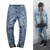 Jeans pour hommes High Street lavé détruit du haut du corps du haut du corps à l'intérieur de la fermeture à glissière pour homme