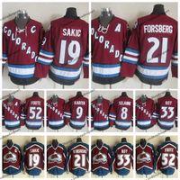 빈티지 콜로라도 Avalanche Hockey Jerseys 52 Adam Foote 21 Peter Forsberg 8 Teemu Selanne 9 Paul Kariya 19 Joe Sakic 33 Patrick Roy Jersey