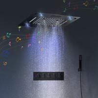 욕실 LED 다기능 조명 마사지 제트와 숨어있는 샤워 세트 천장 머리 온도 조절 식 목욕 패널 비 폭포 거품 안개