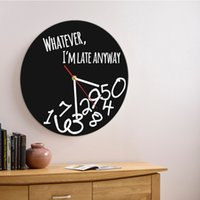 1Piece Whatever I' m Late Anyway Silhouette Wall Clock P...