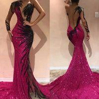 섹시한 자홍색 인어 댄스 파티 드레스 2020 원 슬리브 열기로 돌아 가기 이브닝 드레스와 블랙 자수 긴팔 티셔츠 선발 대회 드레스 BC0468