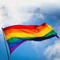 90 * 150cm Drapeau arc-en-lesbienne Drapeau de fierté gaie LGBT rayures colorées volant polyester bannières Rainbow Flag Parade 3 * 5 pi
