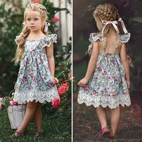European Ins Baby girl Lace trim Dress Ruffle sleeve Floral ...