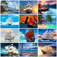 Azqsd 50x40cm Peintures par numéros Paysage Photos Huile Dessin de nombres Bateau Décoration Full Set coloriage par numéros