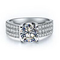 여성을위한 1 캐럿 합성 다이아몬드 반지 여성을위한 레이디 스털링 실버 925 링 약혼 반지를위한 18K 화이트 골드 도금 반지