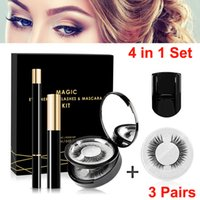 3 Paar falsche Wimpern Liquid Eyeliner Pen Mascara Wimpernzange Set Non Magnetic Wimpern No Need Kleber wiederverwendbare Wimpern Makeup Tools