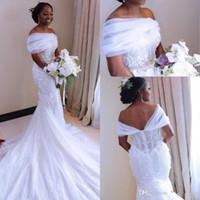 Fuera del hombro Vestidos de novia africanos negros africanos Talla grande Mermaid Bridal Gonws Nigerian Árabe Africano Boda Vestidos a medida.