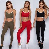 Femmes Sport Costume Backless Gilet Survêtement Yoga Fitness Gym Set Courir Vêtements de sport Leggings Tight Tenues Workout Vêtements de sport