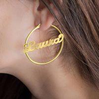 70 MM Big Hoop серьга для женщин персонализированного Имени Пользовательских ювелирных изделий из нержавеющей стали розового золота серьги ювелирных изделий способ 2020