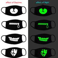 Schwarz Luminous Gesichtsmasken Cartoon Anti-Staub-Mode Persönlichkeit Zähne Glow Baumwolle Mund-Maske dunkel in Nacht Halloween Cosplay