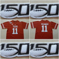 Texas Longhorns 150 ° Patch # 11 Sam Ehlinger # 10 Vince Young # 34 Ricky Williams # 20 Earl Campbell 2019 di nuovo stile college cucita maglie