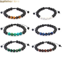 Men Women 8mm Lava Rock Stone Bead Bracelet Essential Oil Di...