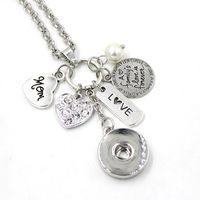 Commercio all'ingrosso fai-da-te regalo personalizzato 18mm gioielli a scatto famiglia pendente mamma collana fascino cuore collana a scatto per regalo mamma madre