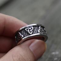 Viking Rostfritt Stål Celtics Knot Ring Men Nordic Trinity Wedding Rings Womens Silver Band Lova Smycken