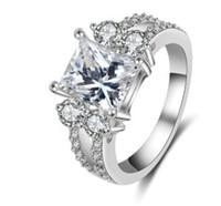 Низкая цена, высокое качество 925 серебряных алмазов кристалл квадратный женский размер кольца 6 7 8 9 (5.94)