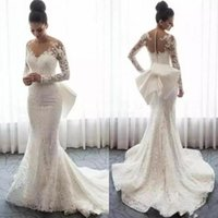 Full Lace Wedding Dresses Spring Autumn Wear Sheer Neck Long...