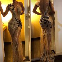 2019 elegante lantejoulas sereia Longo Vestidos Sheer Uma luva manga comprida Lace Applique Varrer Train formal do partido Prom Vestidos BC0954