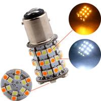 Nuovo!!! 10 pz / lotto 1157 BAY15D 3157 7443 3528 60 SMD 60 LED Dual Colors Ambra / Bianco Switchback DRL Lampada per segnale di svolta parcheggio