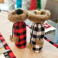 منقوشة زجاجة النبيذ غطاء حقيبة عيد الميلاد الديكور عشاء الجدول الديكور أحمر أسود زجاجة النبيذ تغطية الملابس الحزب لوازم DBC VT0752