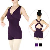 Nosić etap V przedni czarny purpurowy balet taniec leotard bodysuit kobiety szorty jednostki dorosłych kombinezon siłownia dziewczyny ubrania