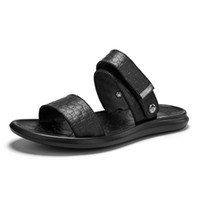 Black Summer Men Flip Flops Slippers Men Casual Genuine Leat...