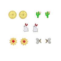 Серьги милые симпатичные карикатуры завод кактус подсолнух лимон кролик креативная комбинация подарок для женщины