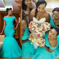 Vestidos de convidado de casamento africano Turquesa mermaid drawsmaid vestidos fora do ombro aqua azul longo festa vestidos de noite