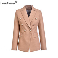 HarleyFashion European Casual Slim Fitness Metall Gold Button Jacke Weiß Schwarz Khaki Farben Female Blazer